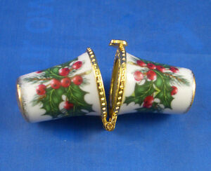 PORCELAIN-THIMBLE-NEEDLE-CASE-CHRISTMAS-HOLLY