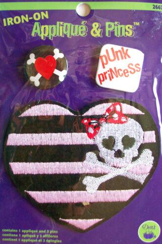 Punk Princess Heart Skull /& Cross Bones Prym Dritz Iron-On Patch Applique /& Pins