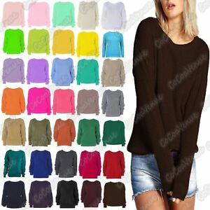 New-Ladies-LongSleeve-Cable-Knitted-Casual-Basic-Jumper-Baggy-Winter-Sweater-Top