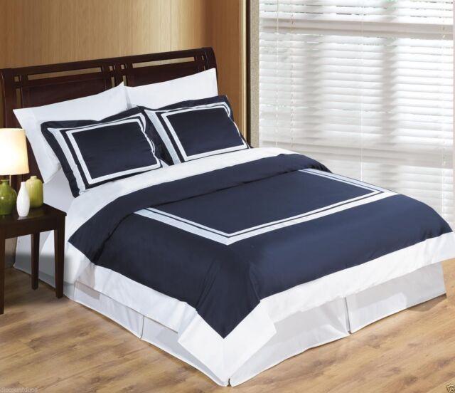 Wrinkle Free Navy Blue /& White Cotton Hotel Duvet Cover Bedding Set ALL SIZES