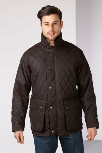 Men/'s Rydale Jacket Diamond Quilted Waxed Cotton Counrty Check Gent/'s Wax Coat