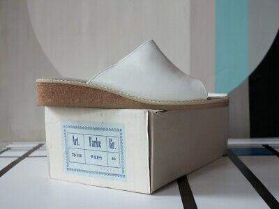 Serio Sandali Da Bagno Scarpe Sandalo Pelle Bianco 90er Truevintage 90s Slippers White Nos-mostra Il Titolo Originale Bianco Puro E Traslucido