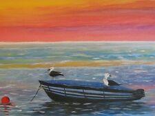 """Gemälde """"Sonnenuntergang am Meer"""" Künstlerin Hilde Ament Malerei Paint Art"""