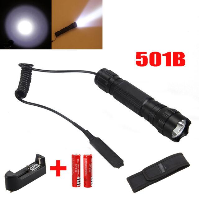 2000Lm CREE T6 LED Linterna Montura Caza Luz Rifle Escopeta 18650 batería Torch