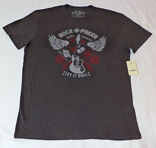 NWT Lucky Brand Short Sleeve Gray Graphic T-Shirt  Rock-N- Poker   Medium   F270