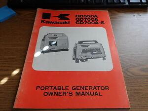 oem kawasaki owners manual portable generator gd550 gd700 99920