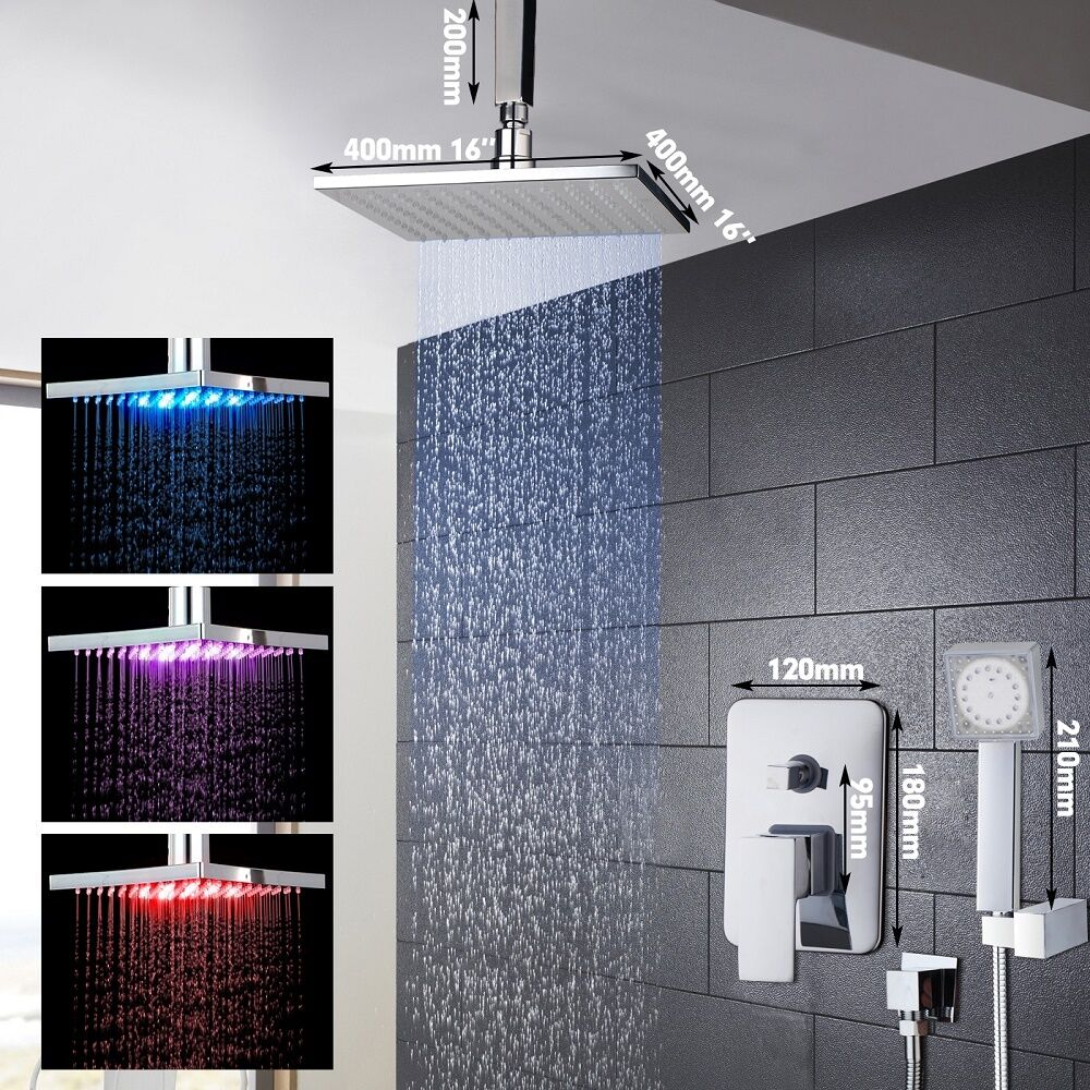 Regadera lluvia led de 40cm x 40cm mezcladora ducha de for Led para ducha