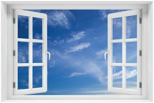 Wallario Acrylglasbild Fenster-Illusion 60 x 90 cm mit Fensterrahmen- Blauer
