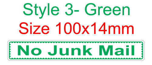 Styles Choose Stamp Style NO JUNK MAIL Vinyl Sticker For Letter boxes