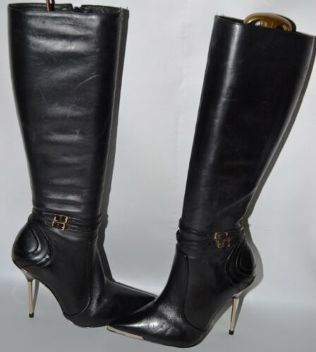 owned Pre Gold Leather Euro 36 Heeled Biba Full Boots Length Stiletto Uk 3 P7Zg5qw