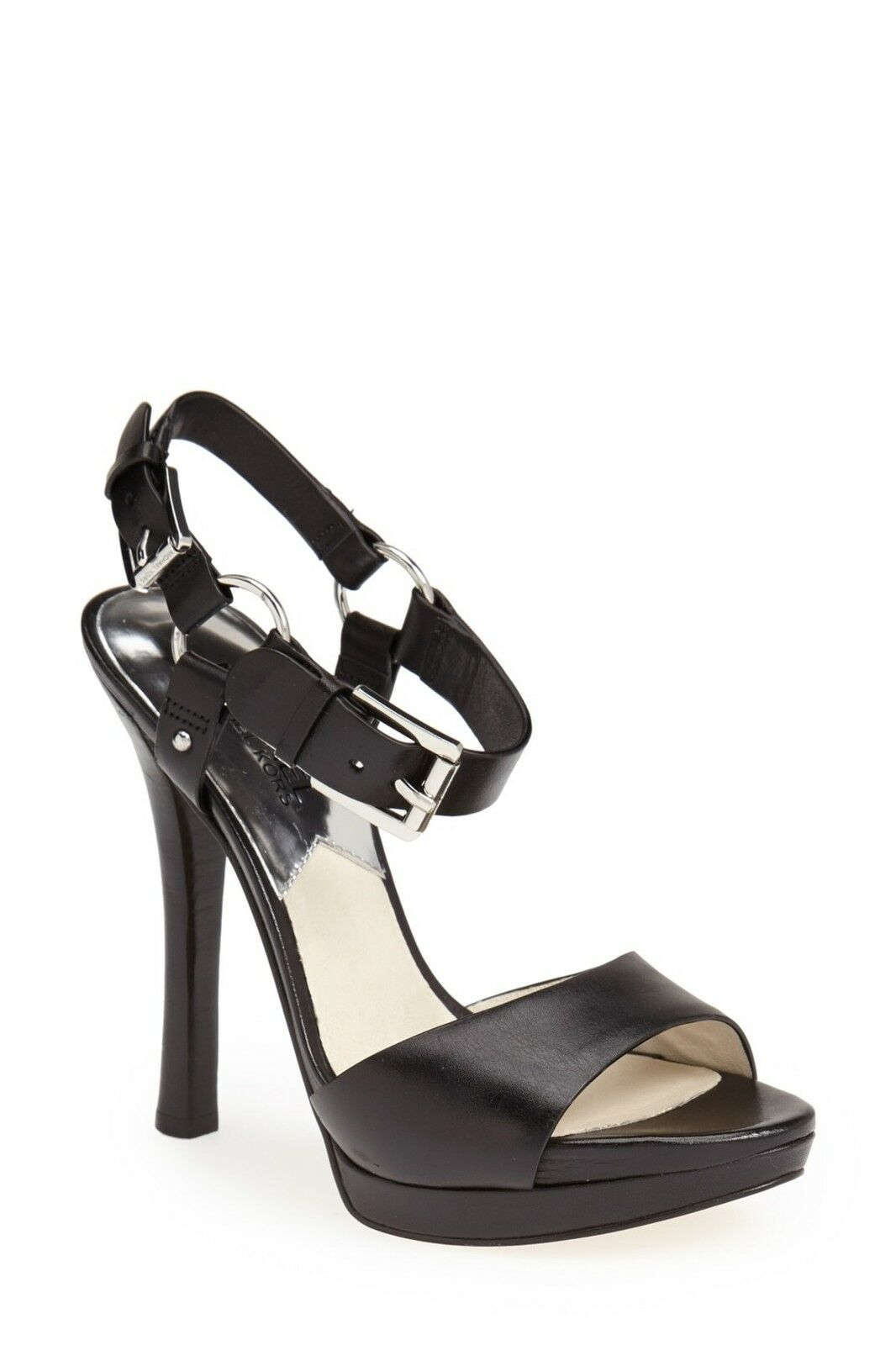 NIB MICHAEL KORS SZ 9 BLACK  HARRISON  LEATHER BLACK 9 STRAPPY PLATFORM SANDAL f5532f
