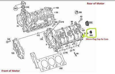 Mercedes Genuine Cam Plug 30mm E C ML SLK CLK CLS G GL GLK R S