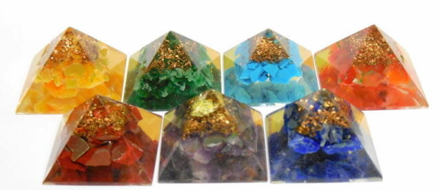 Set of Chakra Stone Pyramid Orgone Pyramid for Reiki Healing Crystal Stone
