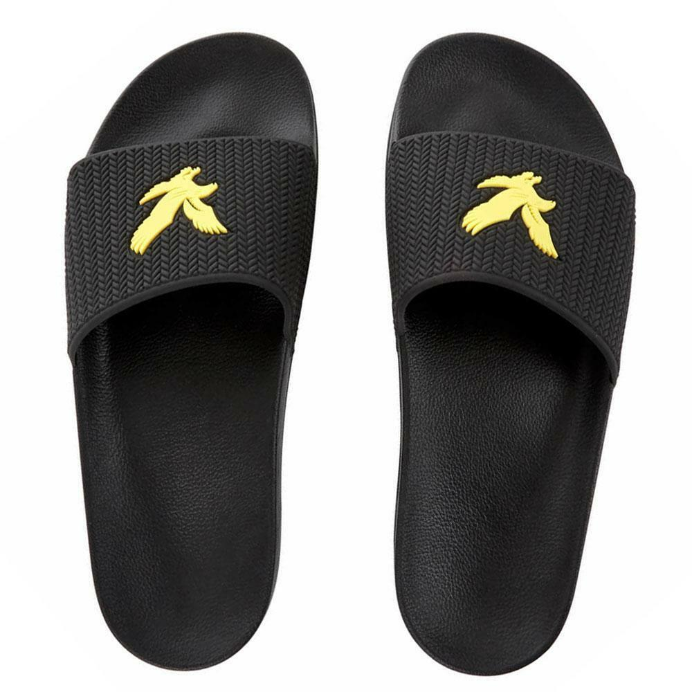 Lyle & Scott Thomson Slides Black White Yellow Flip Flops Sandals Ship Worldwide