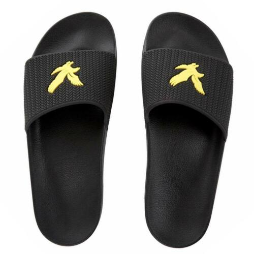 Lyle /& Scott Thomson Slides Black White Yellow Flip Flops Sandals Ship Worldwide
