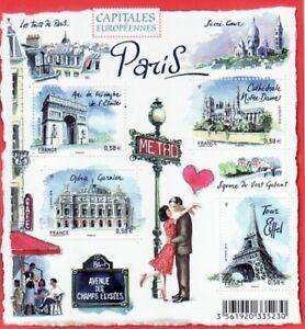 BLOC-FEUILLET-PARIS-4-TIMBRES-NOTRE-DAME-TOUR-EIFFEL-ARC-TRIOMPHE-OPERA-GARNIER