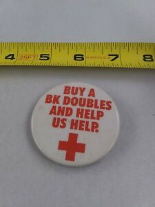 Vintage-Burger-King-Red-Cross-BK-Doubles-Advertising-pin-button-pinback-EE90