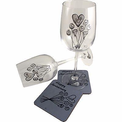 10° Anniversario Di Matrimonio Bicchiere Vino E Coaster Set Regalo Latta Un Rimedio Sovranazionale Indispensabile Per La Casa