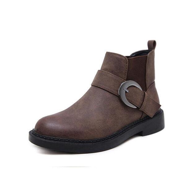 stivali stivaletti bassi scarpe anfibi 4 cm marrone  eleganti simil pelle 9566