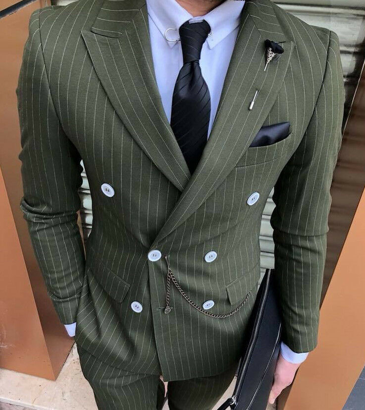 Designer Business Green Double Row Pinstripe Suit Fitted Slim 48