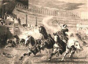 Rome CIRCUS MAXIMUS CHARIOT RACE HORSES FALL ~ 1884 Original Art Print Etching