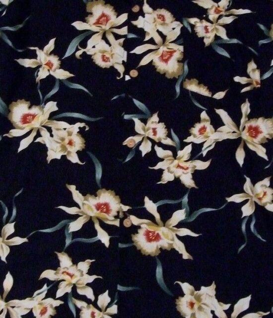 Paradise Found Hawaiian Mens Shirt Medium Orchids Black Made In USA Aloha Floral