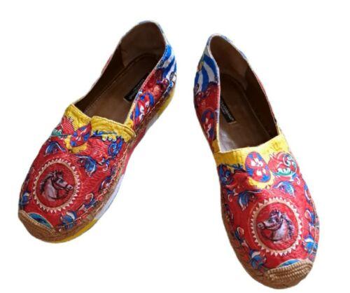 Dolce & Gabbana Jacquard Espadrilles Brick Shoes,