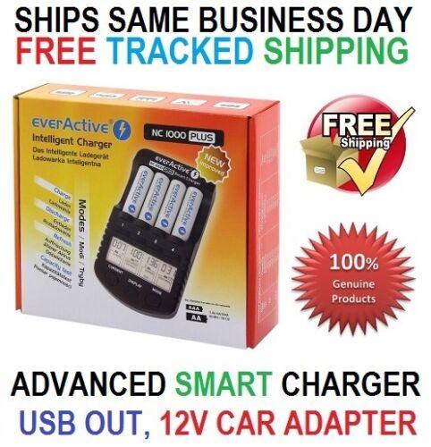 everActive NC 1000 Plus Smart Charger AA AAA USB 12V Intelligentes Ladegerät EU