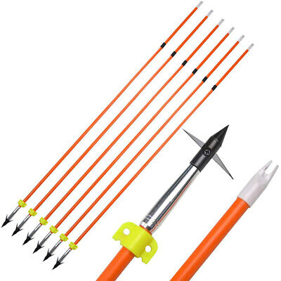 SHARROW Archery Bowfishing Arrows Solid Fiberglass Bow Fishing Arrows with Broadheads Safety Slide for Recurve Bow Compound Bows