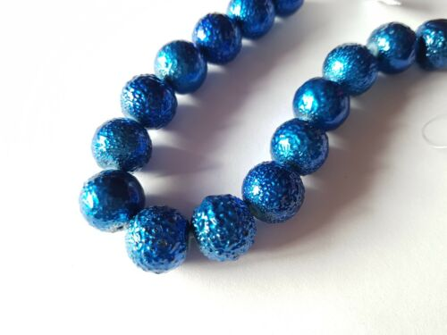 15 x NEW Matte Effect Textured Glass Pearls 14mm Various Colours Available