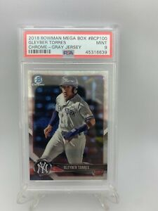 2018-BOWMAN-CHROME-MEGA-BOX-GRAY-JERSEY-GLEYBER-TORRES-PSA-9-MINT