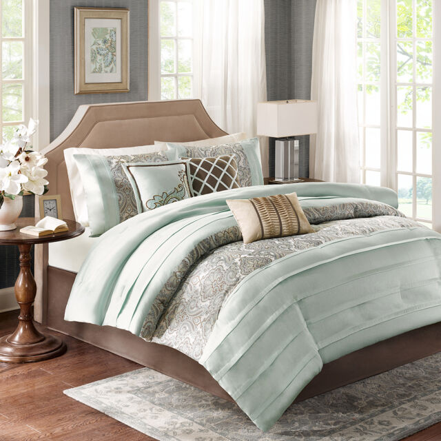 BEAUTIFUL CONTEMPORARY ELEGANT TAUPE BROWN LIGHT BLUE COMFORTER SET KING & QUEEN