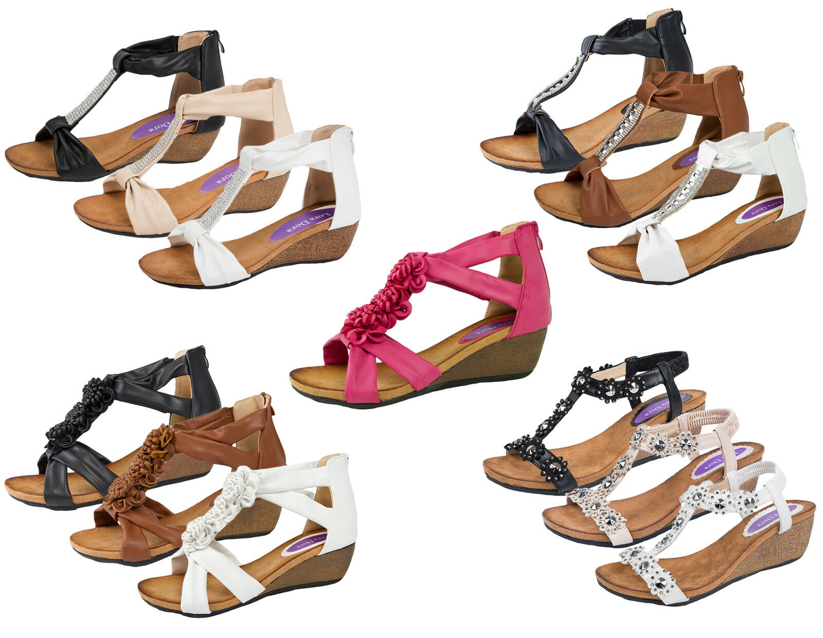 Womens T Wedge Bar Summer Sandals Low Wedges Heels Ladies Wedge T Comfortable Shoes Size 2ce64b