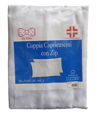 Coppia Federe Copriguanciale Millerighe con Zip 50 x 80 cm Cuscino Guanciale