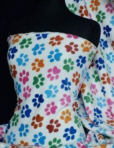 Polar-fleece-anti-pill-washable-soft-fabric-paws-Q396-CRMMLT