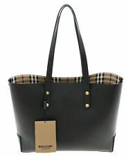 Burberry Tote Heymarket Check Shoulder Bag Black Leather New
