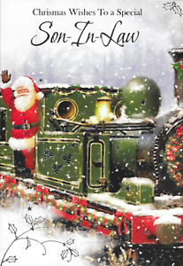 CC6 SON IN LAW CHRISTMAS CARD,TRADITIONAL SANTA ON STEAM TRAIN,LOVELY VERSE