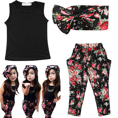 Fashio Baby Girls Floral Print T-shirt + Pants + Hair Band Set Kids Outfits 3PCS