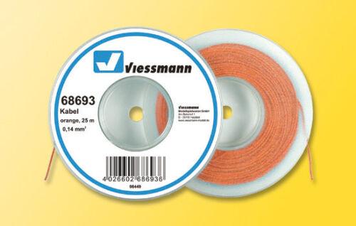 Grundpreis 1m=0,12 Euro orange Viessmann 68693 Kabel auf Abrollspule 25m