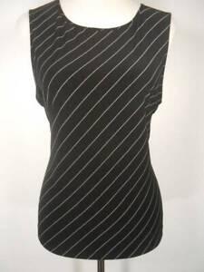 Beautiful-Women-039-s-XL-Ralph-Lauren-Chaps-Black-White-Striped-Sleeveless-Blouse