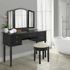 Best Choice Products Bathroom Tri Mirror Vanity Set Black