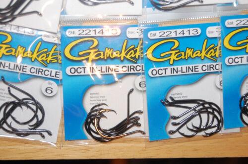 10 packs gamakatsu oct in-line octopus circle hooks size 3//0  6 pr pack 221413