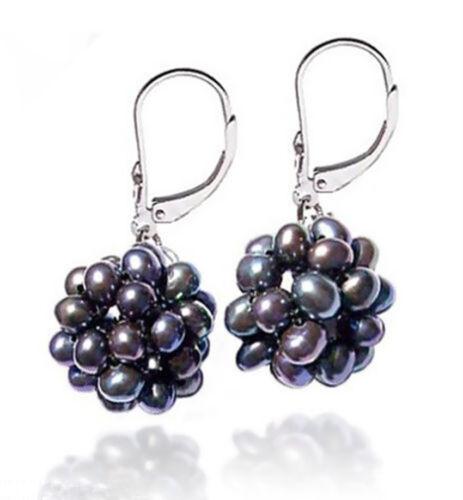 Fashion Handmade Natural Black Pearl Ball 925 Silver Leverback Dangle Earrings