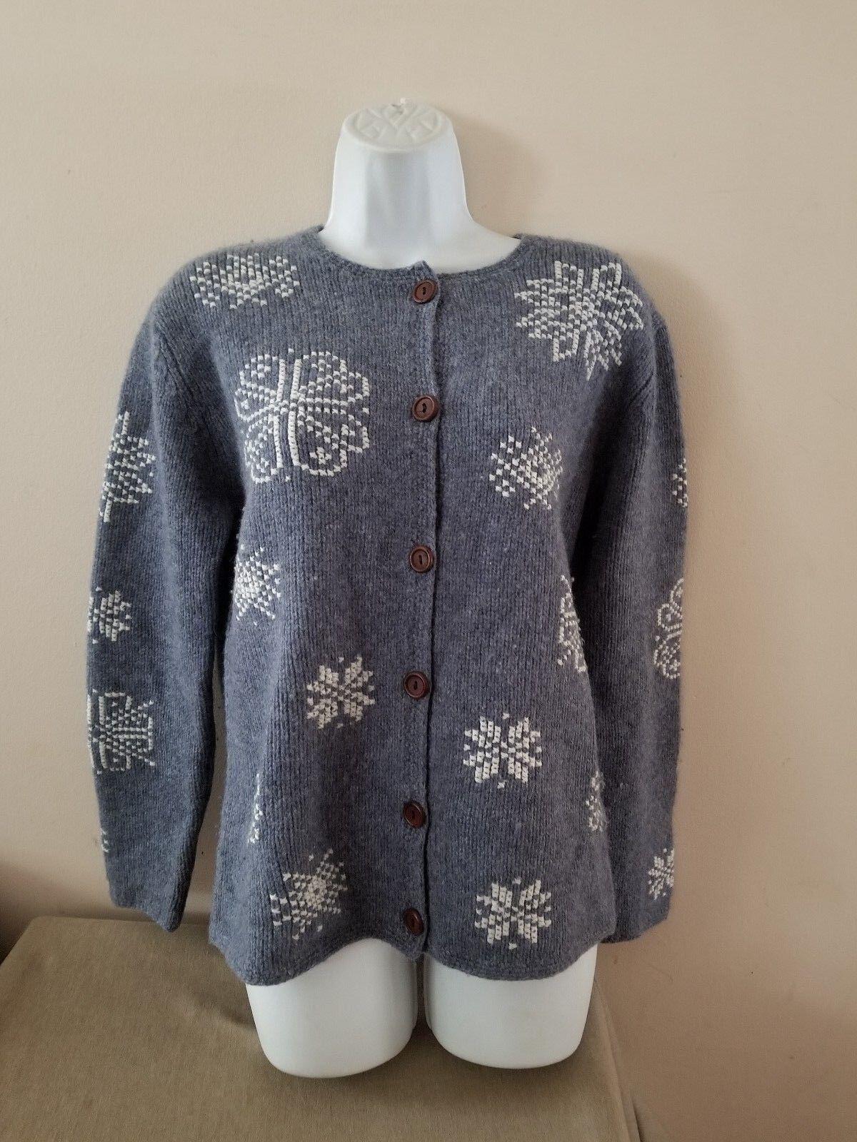 SKYR Nordic Alpine Snowflakes bluee Wool Cardigan Sweater Sz Large