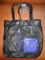 Paris Blues Ladies Handbag Womens Purse Pocket Satchel Black & Blue Shoulder Tot
