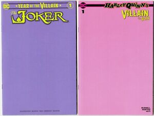 JOKER-1-PURPLE-flaw-on-cover-HARLEY-QUINN-1-PINK-RARE-LIMITED-BLANK-COVERS