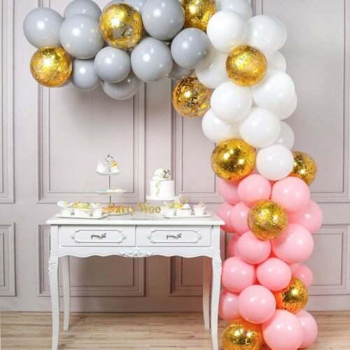 ballons arc Set Kit Macaron Latex Hélium Air Ballon Rose Gris Blanc ballons