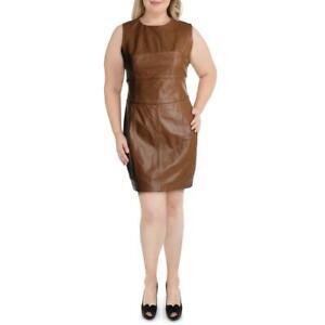 Antonio-Melani-Womens-Elizabeth-Brown-Leather-Wear-to-Work-Dress-14-BHFO-1796