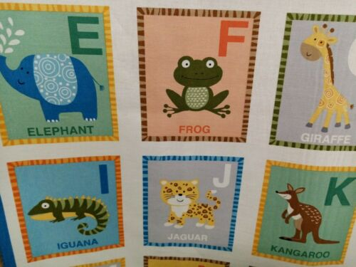 "Makower Jungle Friends ABC panel animals 24/""x44/"" 100/% cotton fabric,free p/&p,"