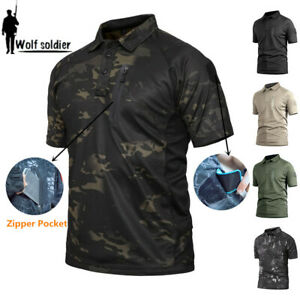 Mens-Military-T-Shirt-Army-Combat-Shirt-Tactical-POLO-Hiking-Camping-Camouflage